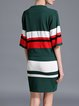 Green Two Piece Color-block Stripes Knitted Half Sleeve Midi Dress