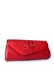 Retro Magnetic Embossed Cowhide Leather Clutch