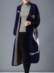 Navy Blue H-line Long Sleeve Animal Embroidered Wool Blend Cardigan