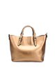 Golden Cowhide Leather Casual Medium Tote