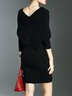 V Neck Batwing Plain Knitted Sweater Dress