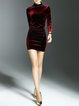 Wine Red Elegant Bodycon Plain Mini Dress