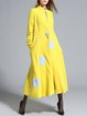 Yellow Long Sleeve Appliqued Fringed A-line Wool Blend Coat
