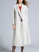 Gray Elegant Wool Blend Plain Fringed Coat