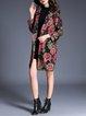 Black Floral-print Vintage Coat