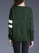 Dark Green Casual Letter Color-block Sweater