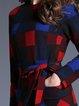 Multicolor Long Sleeve Sheath Checkered/Plaid Midi Dress
