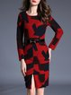 Sheath Long Sleeve Color-block Elegant Midi Dress