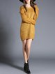 Yellow Knitted Sheath Casual Crew Neck Sweater Dress
