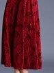 Red Floral Jacquard Elegant Midi Dress