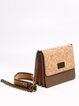 Neutrals Casual Square Cork Crossbody Bag