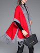 Red Fringed Asymmetrical Color-block Knitted Batwing Cardigan