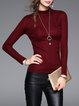 Turtleneck Wool Blend Plain Elegant Sweater