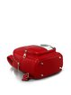 Red Statement Printed PU Zipper Backpack
