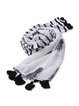 White Fringed Sequins Girly Stripes Scarf