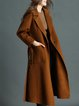 Long Sleeve Lapel Solid Casual Wool blend Coat with Belt