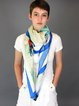 Blue Silk Graphic Elegant Scarf