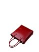 Wine Red Zipper Simple Cowhide Leather Top Handle