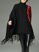 Printed Asymmetrical Turtleneck Fringed Batwing Sweater