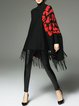Asymmetrical Printed Turtleneck Fringed Batwing Sweater