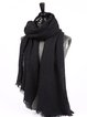 Black Casual Wool Silk Plain Scarf