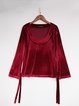 Wine Red Casual Symmetric Long Sleeved Top