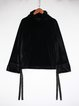 Black Turtleneck Paneled Casual H-line Long Sleeved Top