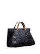 Black Cowhide Leather Medium Casual Satchel