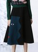 Color-block Embroidered Elegant Midi Skirt