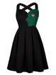 Black Color-block Spaghetti Embroidered Elegant Mini Dress