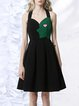 Black Color-block Spaghetti Embroidered Elegant Mini Dress