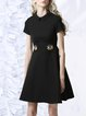 Black Embroidered A-line Short Sleeve Midi Dress