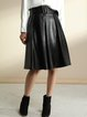Black A-line PU Elegant Midi Skirt With Belt