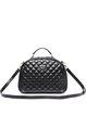 Black Cowhide Leather Zipper Shoulder Bag