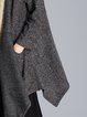 Gray Asymmetrical Knitted Casual Cardigan