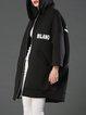 Black Letter Printed Hoodie Casual Coat