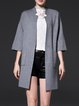 Light Gray Stand Collar Knitted Simple Cardigan
