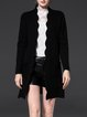 Black H-line Stand Collar Solid Long Sleeve Cardigan