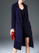 Navy Blue Stripes Buttoned Letter Elegant Lapel Coat