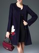 Navy Blue H-line Elegant Floral Embroidered Coat