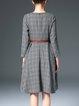 Gray A-line Checkered/Plaid 3/4 Sleeve Midi Dress