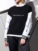 Black Casual Letter Embroidered Sweatshirt
