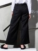 Black Solid Pockets Casual Wide Leg Pant