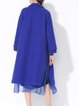 Royal Blue Lapel Paneled Chiffon Long Sleeve Coat