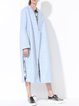 Light Blue Pockets Slit Long Sleeve Coat