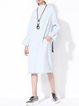 Light Blue Stand Collar Elegant Midi Dress