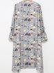 Gray Printed Bell Sleeve Midi Dress