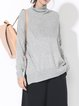 Gray Turtleneck Long Sleeve Slit Knitted Plain Sweater