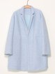 Light Blue Wool Long Sleeve Asymmetrical Coat