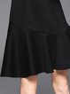 Black 3/4 Sleeve Mermaid Plain Midi Dress